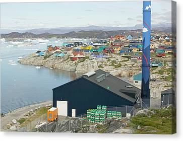 An Oil Fired Power Plant In Ilulissat Canvas Print by Ashley Cooper