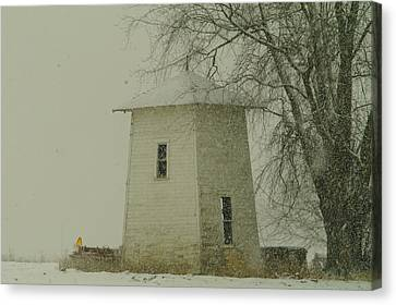 An Old Bin In The Snow Canvas Print