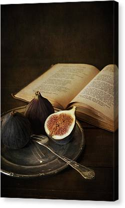 An Old Books And Fresh Figs Canvas Print