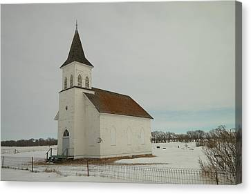 An Old Church In North Dakota Canvas Print by Jeff Swan