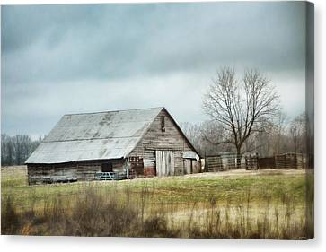 Winter In The Country Canvas Print - An Old Gray Barn by Jai Johnson