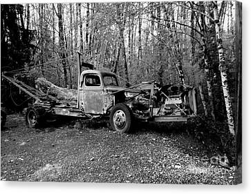 An Old Logging Boom Truck In Black And White Canvas Print