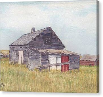 Canvas Print featuring the painting An Old Memory Home In The Grand Prairies by Kelly Mills