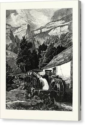 An Old Mill In The Jura Mountains. Mountains Canvas Print by C.e. Dubois, 19thcentury, American