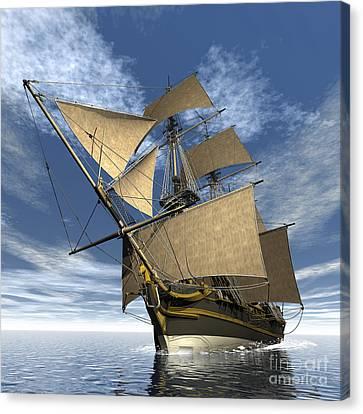 An Old Sailing Ship Navigating Canvas Print by Elena Duvernay