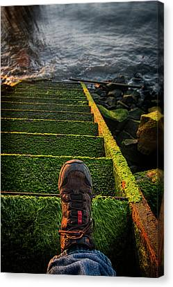 Shoreline Old Men Canvas Print - An Old Stairway On The Astoria by Robert L. Potts