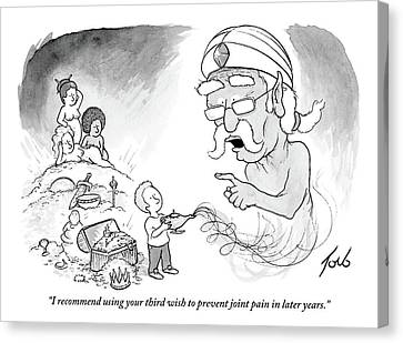 Old Canvas Print - An Older Genie Speaks To Young Boy As He Emerges by Tom Toro