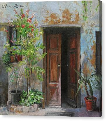 Tuscan Canvas Print - An Open Door Milan Italy by Anna Rose Bain
