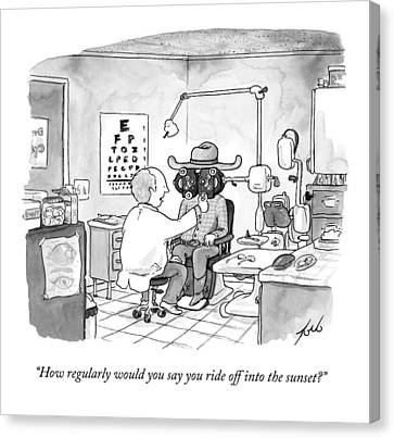 An Optometrist Examines A Cowboy Canvas Print