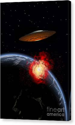 An Orbiting Ufo Launches A Deadly Canvas Print