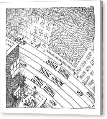 An Overhead Shot Of A Street Reveals Three Lanes Canvas Print