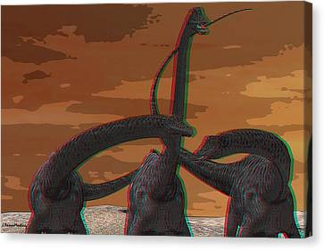 Anaglyph Diplodocus Canvas Print