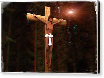 Anaglyph Martyr In The Forest Canvas Print