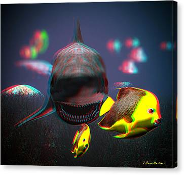 Anaglyph Shark And Fishes Canvas Print by Ramon Martinez