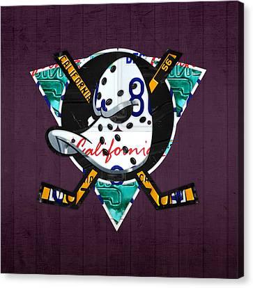 Team Canvas Print - Anaheim Ducks Hockey Team Retro Logo Vintage Recycled California License Plate Art by Design Turnpike