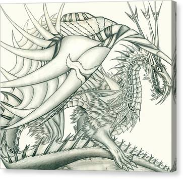 Anare'il The Chaos Dragon Canvas Print by Shawn Dall