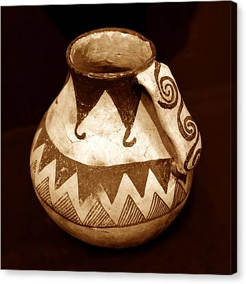 Ceramic Bowl Canvas Print - Anasazi Jug With Spiral Handle by David Lee Thompson
