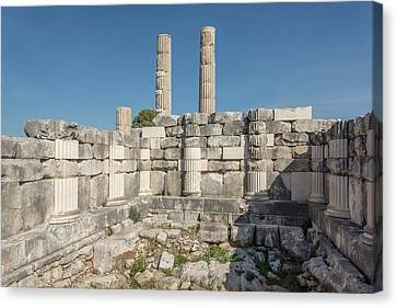 Anastylosis Of Temple Column At Letoon Canvas Print by David Parker