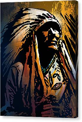 Native American Spirit Portrait Canvas Print - Ancestral Light by Paul Sachtleben