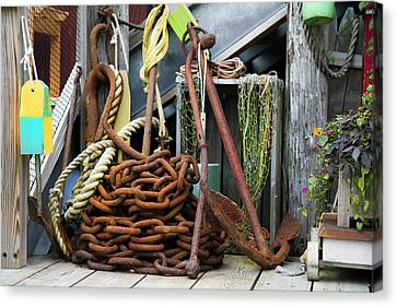 Anchor And Chain Canvas Print by Betsy Knapp