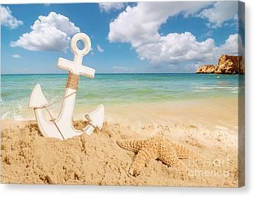 Anchored Canvas Print - Anchor On The Beach by Amanda Elwell
