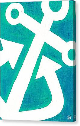Anchor-turquiose Canvas Print by Catherine Peters