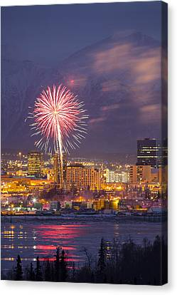 Pyrotechnics Canvas Print - Anchorage Fireworks Eight by Tim Grams