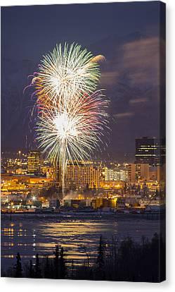 Anchorage Fireworks Nine Canvas Print by Tim Grams
