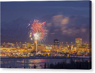 Pyrotechnics Canvas Print - Anchorage Fireworks Three by Tim Grams