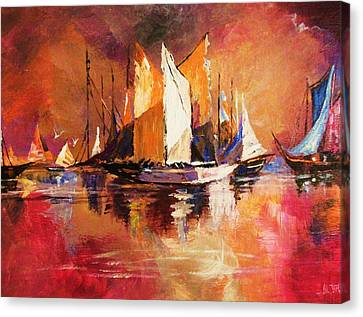 Anchored At Sunset Canvas Print by Al Brown