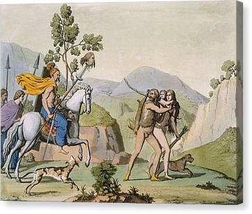 Ancient Celtic Warriors On A Foray Canvas Print by Italian School