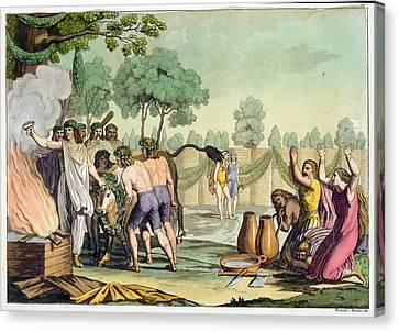 Ancient Celts Or Gauls Sacrificing Canvas Print by Vittorio Raineri