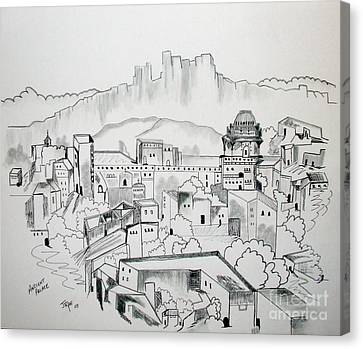 Canvas Print featuring the drawing Ancient City In Pen And Ink by Janice Rae Pariza