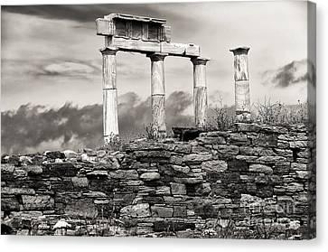 Ancient Greek Ruins Canvas Print - Ancient Columns On Delos Island by John Rizzuto
