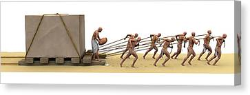 Ancient Egyptians Moving Stone Canvas Print by Jose Antonio Pe�as