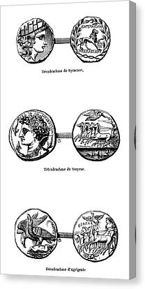 Ancient Greek Coins Canvas Print by Science Photo Library