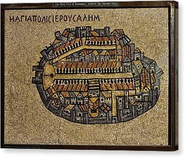 Ancient Jerusalem Mosaic Map Color Framed Canvas Print
