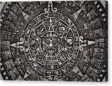 Mayan Character Canvas Print - Aztec Sun God by Brandon Bourdages