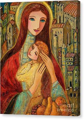 Ancient Mother And Son Canvas Print by Shijun Munns