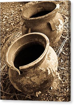 Ancient Pottery In Sepia Canvas Print