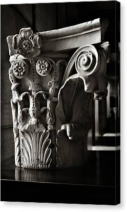Ancient Roman Column In Black And White Canvas Print by Angela Bonilla