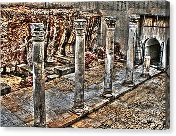 Canvas Print featuring the photograph Ancient Roman Columns In Israel by Doc Braham