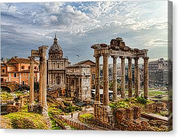 Ancient Roman Forum Ruins - Impressions Of Rome Canvas Print by Georgia Mizuleva