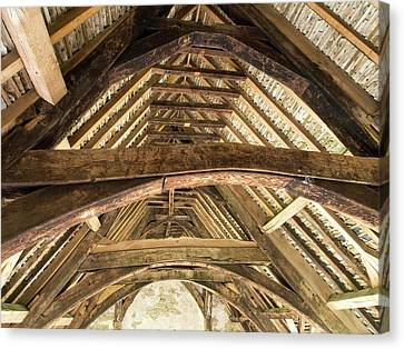Ancient Roof Timbers In Stokesay Castle Canvas Print