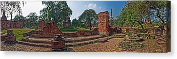 Ancient Ruins Of Ayutthaya Historical Canvas Print by Panoramic Images