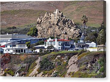 Ancient Sea Stack At Pismo Beach Above Motels Canvas Print
