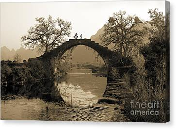Ancient Stone Bridge Canvas Print by King Wu