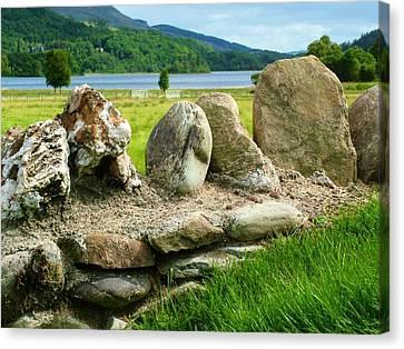 Ancient Stone Wall At Loch Achray Canvas Print