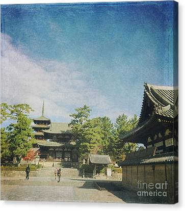Ancient Temple And Pagoda Of Horyu-ji In Nara Japan Canvas Print