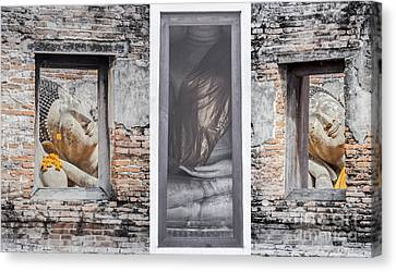Ancient Temple In Ayuthaya Historical Park Canvas Print by Anek Suwannaphoom